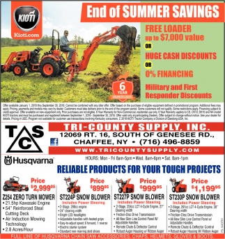 End Of Summer Savings