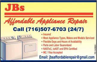 Appliance Repair, JBs Affordable Appliance Repair