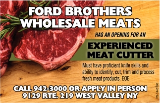 Experienced Meat Cutter, Ford Brothers Wholesale Meats