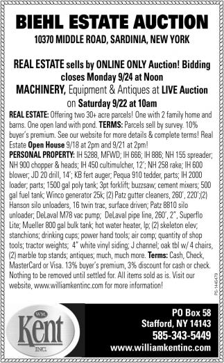 Biehl Estate Auction