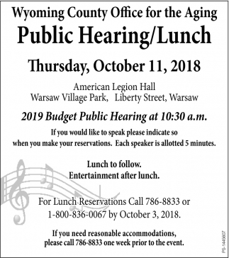 Public Hearing/Lunch