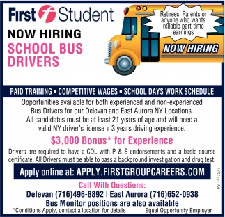 Now Hiring School Bus Drivers