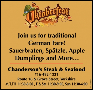 Join Us For Traditional German Fare!