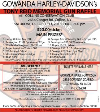 Tony Reid Memorial Gun Raffle, Gowanda Harley-Davidson's