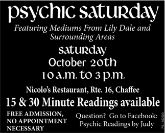 15 & 30 Minute Readings Available, Psychic Saturday