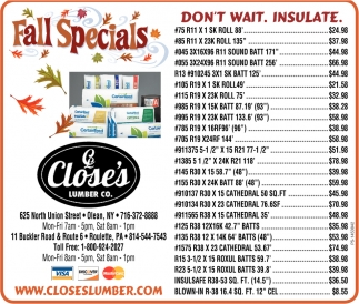 Fall Specials, Close's Lumber, Olean, NY
