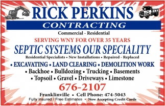 Septic Systems Our Specialty, Rick Perkins Contracting, Franklinville, NY