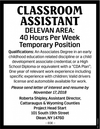 Classroom Assistant, Cattaraugus & Wyoming Counties Project Head Start