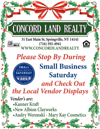 Please Stop By During Small Business Saturday