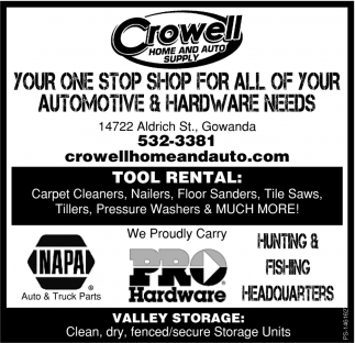Your One Stop Shop For All Of Your Automotive And Hardware Needs