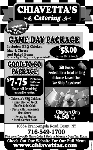 Game Day Package, Chiavetta's Catering, Brant, NY