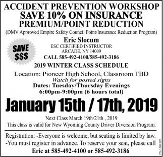 2019 Winter Class Schedule