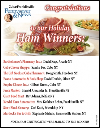 Congratulations To Our Holiday Ham Winners