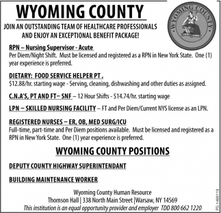 Wyoming County Positions