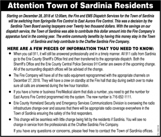 Attention Town Of Sardinia Residents