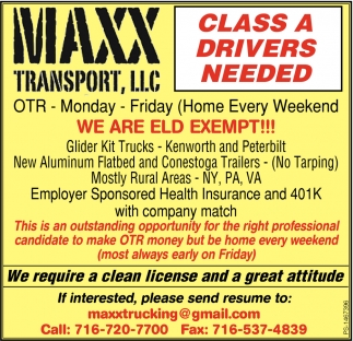 Class A Drivers Needed