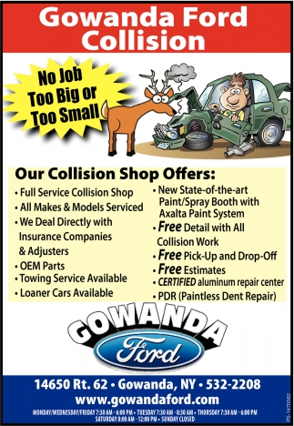 Our Collision Shop Offers