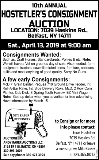 10th Annual Hostetler's Consignment Auction