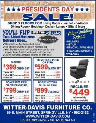 Presidents day sale witter davis furniture co springville ny