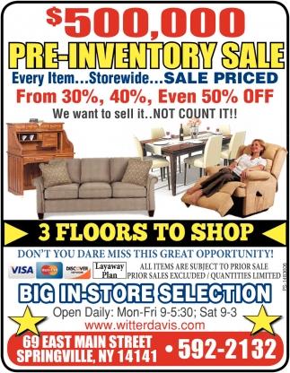 Pre-Inventory Sale