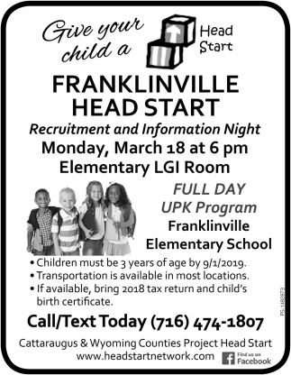 Give Your Child A Head Start , Cattaraugus & Wyoming Counties Project Head Start, Olean, NY