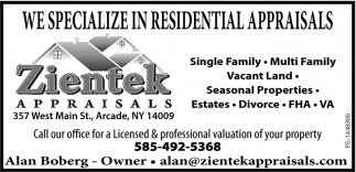We Specialize In Residential Appraisals