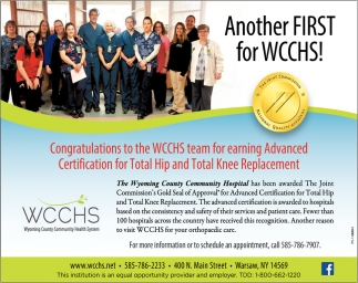 Another First For WCCHS!