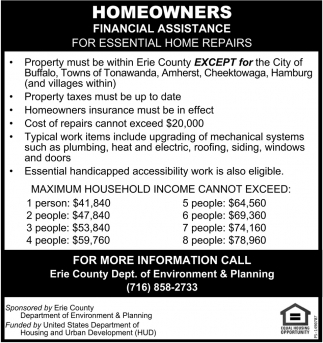 Homeowners Financial Assistance