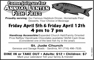 Come Join us for Annual Lenten Fish Fries