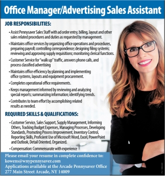 Office Manager / Advertising Sales Assistant