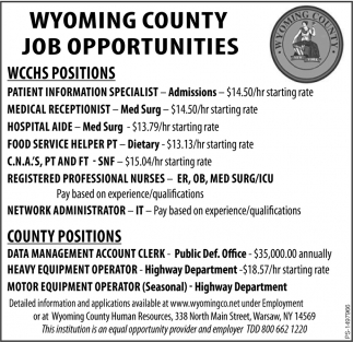 WCCHS Positions