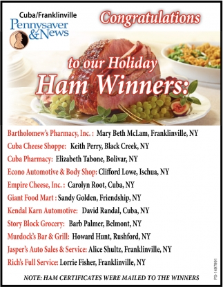 To Our Holiday Ham Winners