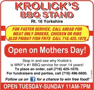 Open On Mothers Day!