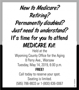 New To Medicare?, Wyoming County Office For The Aging, Warsaw, NY