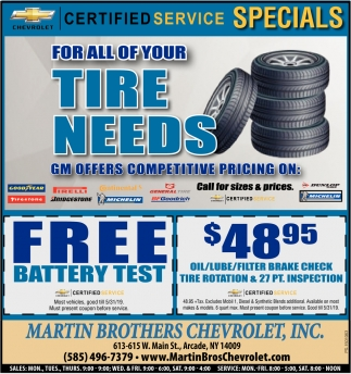 Certified Service Specials
