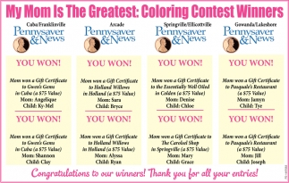 My Mom Is The Greatest: Coloring Contest Winners