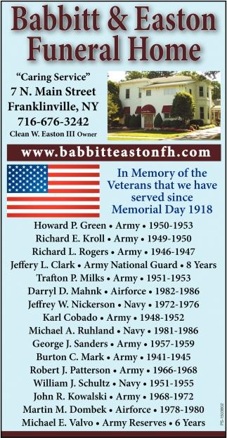 In Memory Of The Veterans
