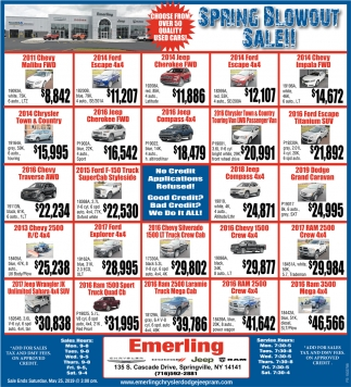 Spring Blow Out Sale