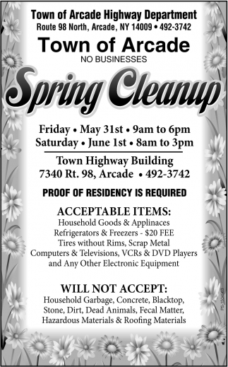 Spring Cleanup , Town of Arcade