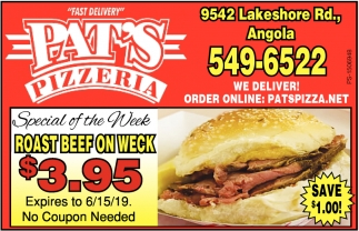 Roast Beef On Weck , Pat's Pizzeria , Angola, NY