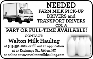 Needed Farm Milk Pick-Up