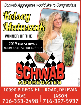 Kelsey Matuszak Winner Of The 2019 Tim Schwab Memorial Scholarship