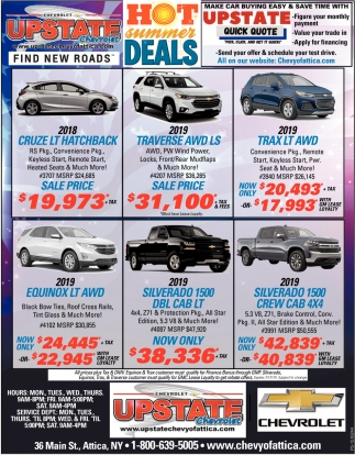 Hot Summer Deals Upstate Chevrolet Attica Ny