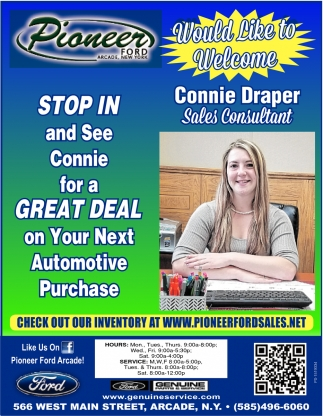 Stop In And See Connie For A Great Deal