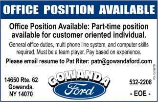 Office Position Available
