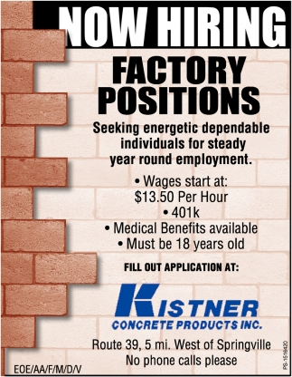 Factory Positions
