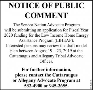 Notice Of Public Comment