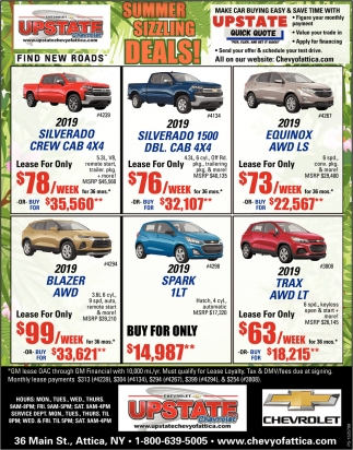 Summer Sizzling Deals Upstate Chevrolet Attica Ny