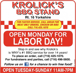 Open Monday For Labor Day!