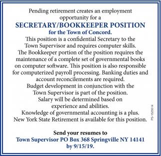 Secretary/Bookkeeper Position